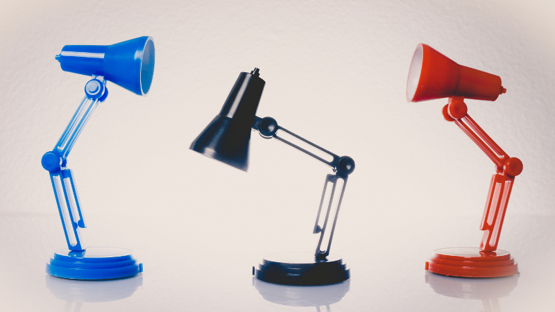 Table lamps, isolated on a white background